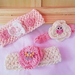 SET 3 Cotton Newborn Baby Girl Headbands